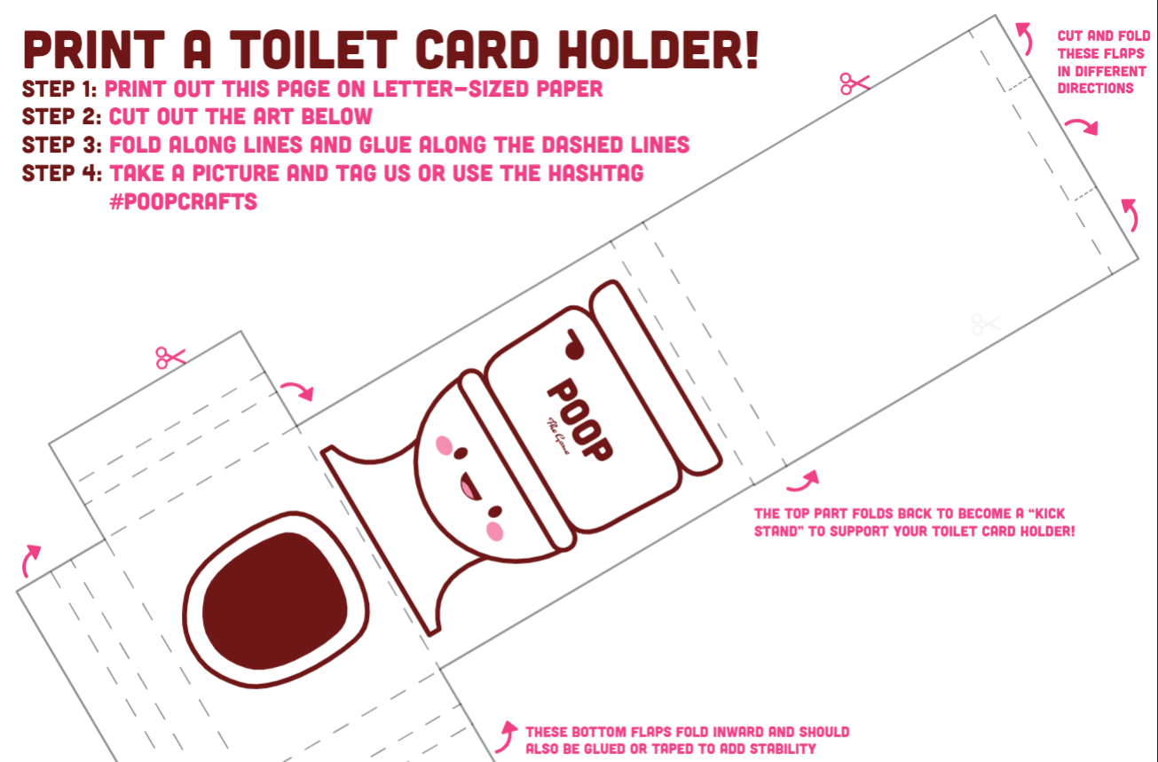 POOP The Game: Printable Toilet Card Holder