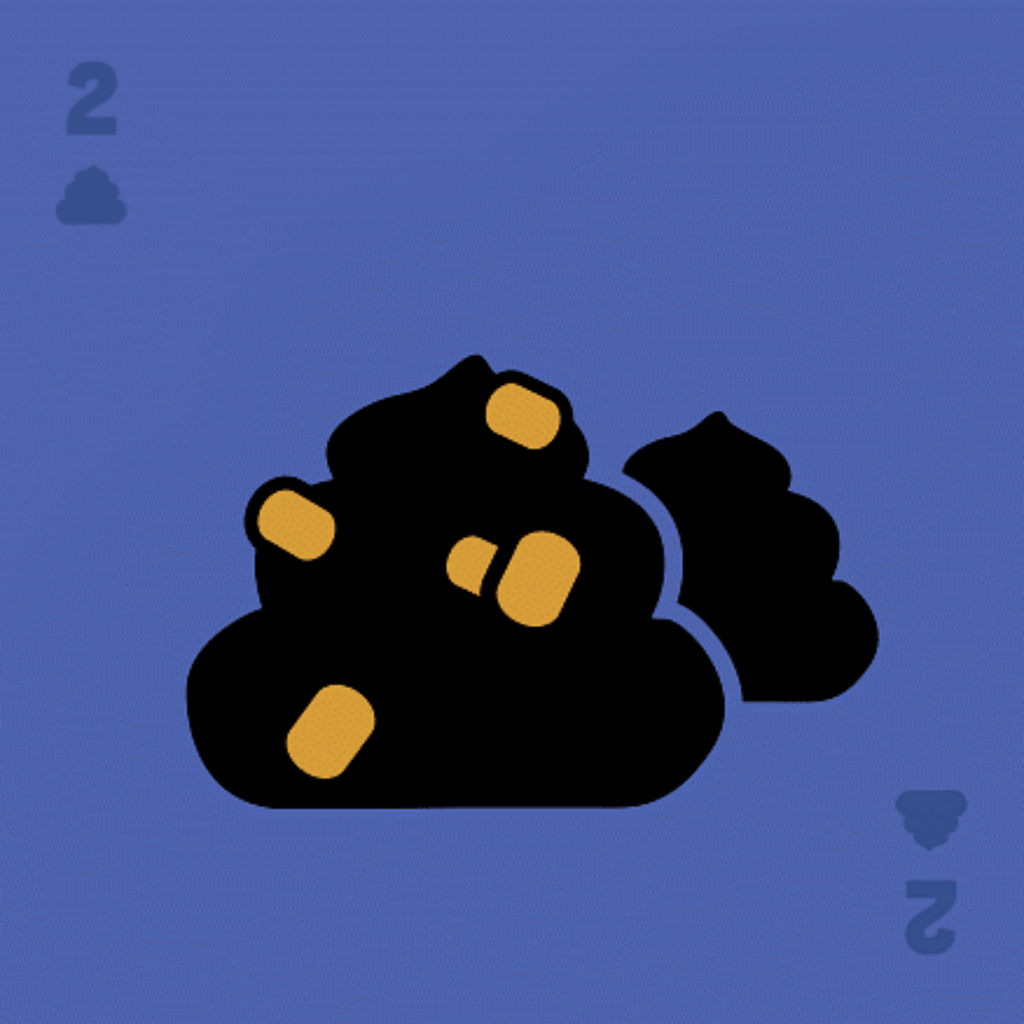 Blue square card with number 2 and poop icon at top left and bottom right corners. Two stylized black poops in center with yellow corn kernels.